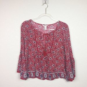 • FOREVER 21 • Red Paisley Pattern Top Sz S